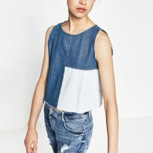 Zara Sleeveless Denim Patched Top